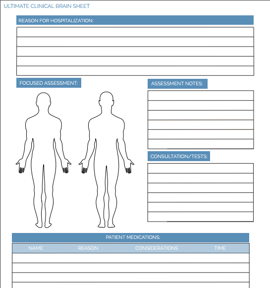 nursing student clinical sheet